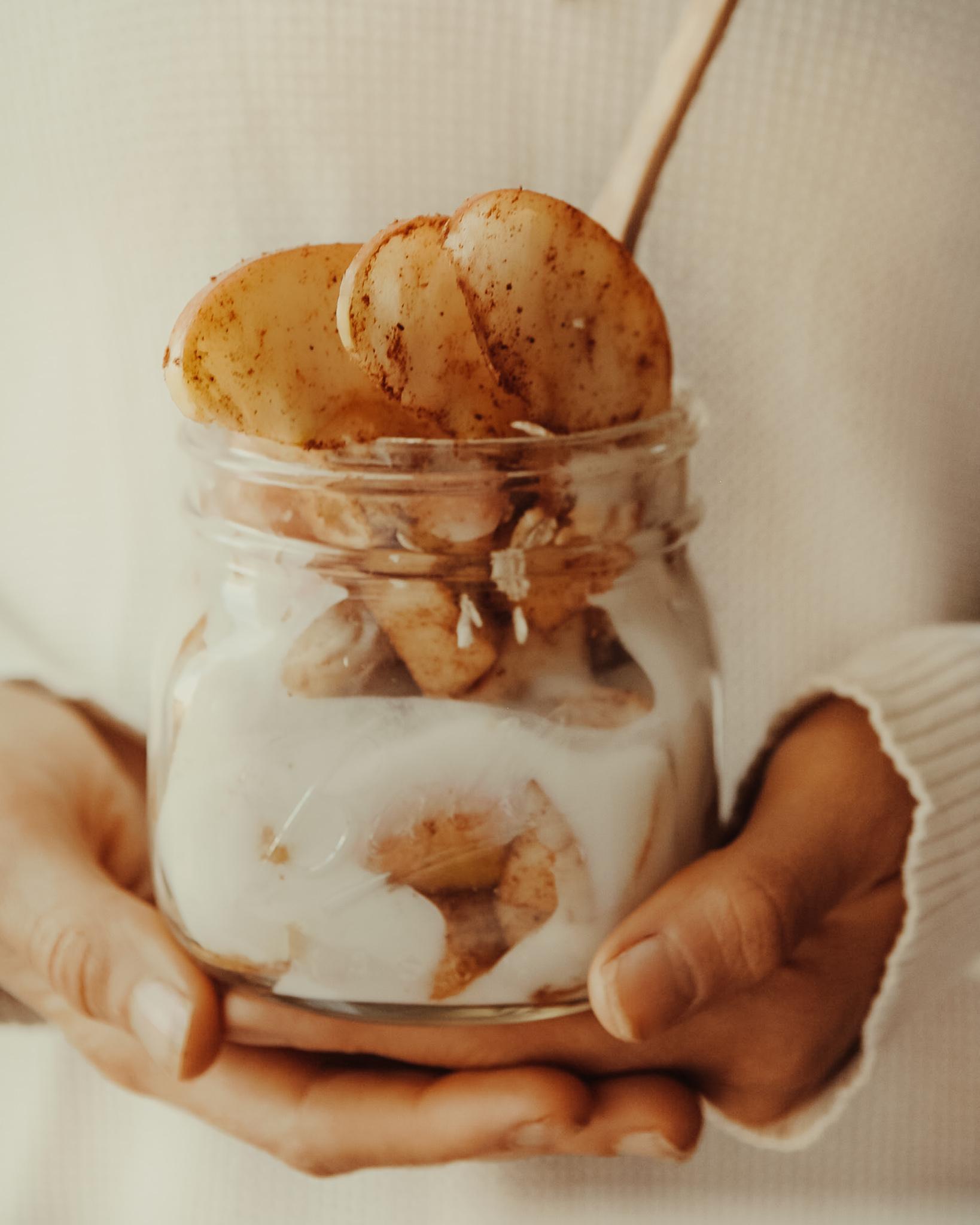 Warm Apple Coconut Yogurt Parfait